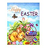 Wamika Happy Easter Bunny Eggs Basket Lilies Flowers Double Sided House Flag Garden Banner 28' x 40', Easter Rabbit Eggs Spring Butterfly Welcome Garden Flags for Anniversary Yard Outdoor Decoration