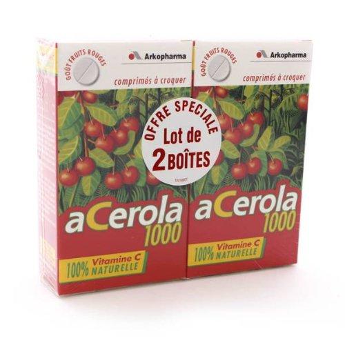 ARKOPHARMA ARKOVITAL - Acerola 1000 - Fortifiant et Tonifiant - Lot de 2 x 30 comprimés