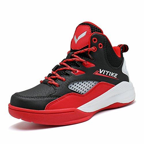 ASHION Basketballschuhe Herren Sneaker Sportschuhe Jungen Turnschuhe Laufschuhe Outdoorschuhe(B Rot,34EU)