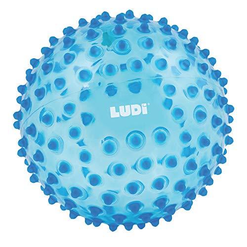 LUDI - Balle sensorielle bleue pour l'éveil de bébé. Adaptée aux enfants dès 6 mois. Gros picots tendre faciles à mordiller. Balle de jeu ou de massage. Diamètre : 20 cm - réf. 2795BL