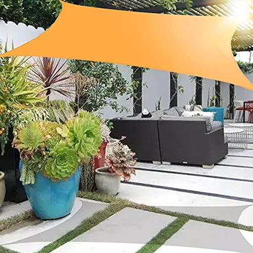 Wsaman Toldo Vela de Sombra Rectangular 5x5m, Toldo Vela de Sombra Prevención Rayos UV Toldo Impermeable Toldo Vela Antidesgarro con Kit De Hardware para Exterior, Jardín, Terrazas, Orange