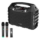 Hotec Bluetooth Karaoke Lautsprecher Karaoke Maschine PA-Anlage tragbare mit Dual Drahtlosen Mikrofonen, Mobil mit Akku (Bluetooth, USB,SD-Karte, AUX,UKW-Radio) für Weihnachten Party Schwarz