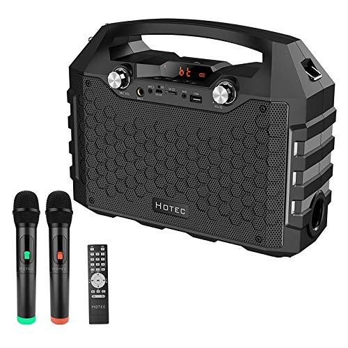 Hotec Altavoz de karaoke con Bluetooth, dispositivo PA portátil, con doble micrófono inalámbrico, móvil con batería (Bluetooth, USB, tarjeta SD, AUX, radio FM), para fiestas de Navidad, color negro