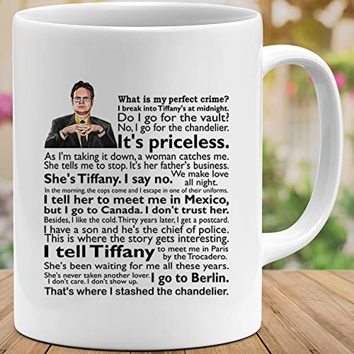 PERIPATETIC Dwight #Schrute The Office Quote What is My Perfect Crime Mens Womens Mugs Cups Coffee