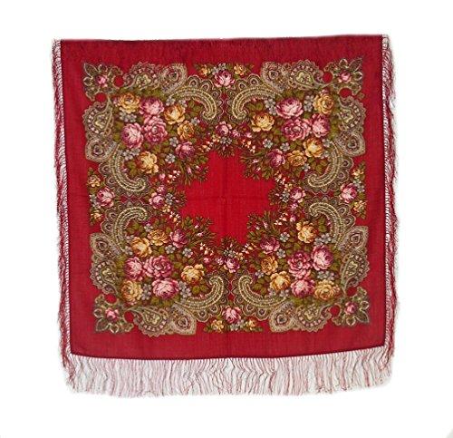 Medium Russian Woolen Shawl #77905 (silk fringe)