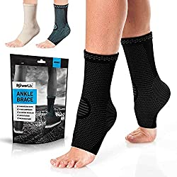 Black POWERLIX Ankle Brace Compression Support Sleeve for Injury Recovery