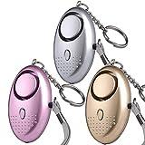 3pcs Alarma Personal,130dB Alarma de Seguridad Llavero con Linterna LED,Autodefensa Alarma de Seguridad de Ataque de violación de pánico para Mujeres,Niños y Caminantes nocturnos,Baterías Incluidas