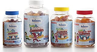 Salaam Nutritionals Halal Mega Family 4 Pack – Children's and Adult Multivitamins, Omega 3 + DHA, Vitamin D – Kosher, Gela...