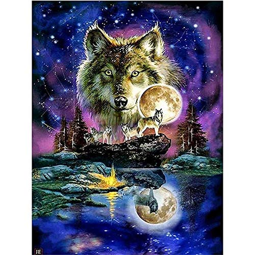 DIY 5D Diamond Painting by Number Kits,Full Round Drill,Diamond Embroidery Painting Cross Stitch Arts Craft Decor Wolf Under The Moonlight 11.8x15.7 in by LANSUER