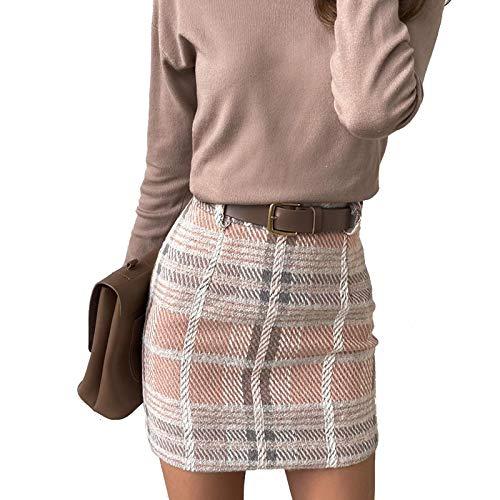 Frecoccialo Falda a Cuadros para Mujer Falda Mini Sexy Cintura Alta A-Line de Moda Falda Vestido Otoño Primavera Invierno Falda Elegante Casual (Rosa, S)