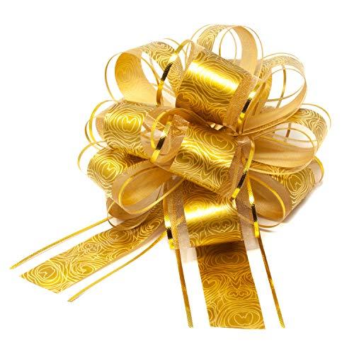 Oblique Unique® Geschenk Schleife mit Geschenkband Glänzend für Geschenke Tüten Zuckertüten zum Basteln Dekorieren Verzieren Weihnachten (Gold)