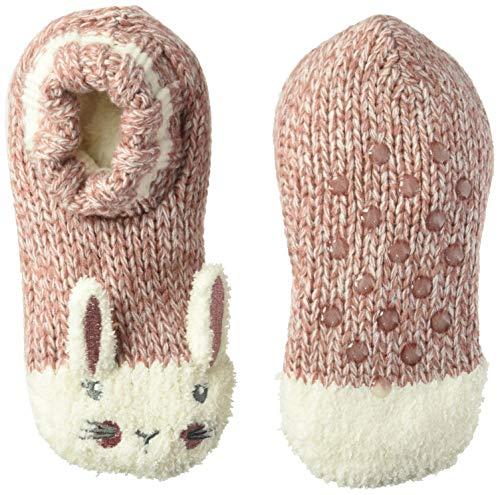 Fuzzy Babba Big Girls Critter Knitter Slipper, cute pink bunny, Fits sock size 6-8.5 Fits Shoe Size 7.5-3.5