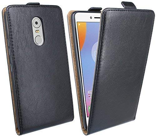 ENERGMiX Handytasche Flip Style kompatibel mit Lenovo K6 Note (5,5 Zoll) in Schwarz Klapptasche Tasche Schutz Hülle