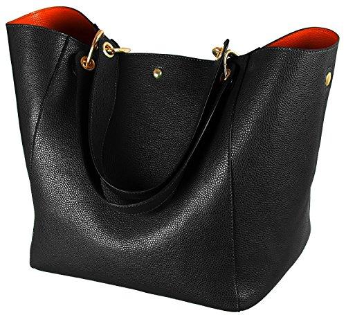 SQLP Taschen Damen Leder Groß Shopper Damen Gross Henkeltaschen Tasche Student Schultasche Arbeit Handtaschen für Damen Schultertaschen Damentaschen Weich Umhängetasche-Schwarz