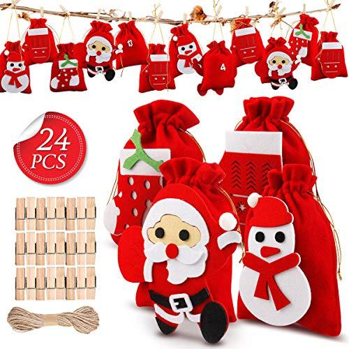 Mture 24 Adventskalender zum Befüllen, Weihnachten Geschenksäckchen mit 1-24 Adventszahlen, DIY Weihnachtskalender Bastelset, Adventskalender 2020, Basteln Füllung für Männer Kinder