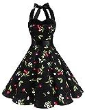 Dresstells® Halter 50s Rockabilly Polka Dots Audrey Dress Retro Cocktail Dress Black Small Cherry S