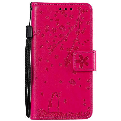 Miagon Gaufrage Coque pour Samsung Galaxy S9,Rétro Emboss Flip Housse Coque Etui PU Cuir Chat Papillon Fleur Supporter Magnétique Case,Rose Rouge
