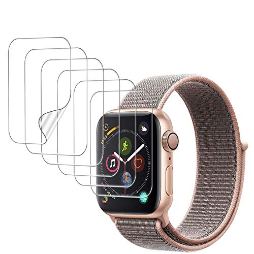UniqueMe [6 Pack] Protector de Pantalla para Apple Watch 40mm Series 4/5/6/SE, [Caso amistoso] [Película Flexible] Soft HD Clear Anti-Scratch con