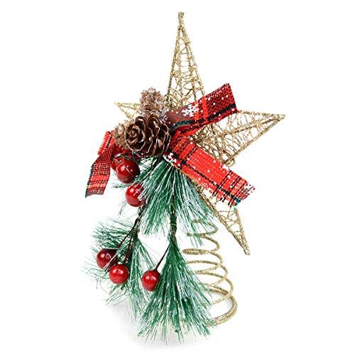 BG Festive Holiday Winter Mistletoe and Gold Star Christmas Tree Topper Wire 8'
