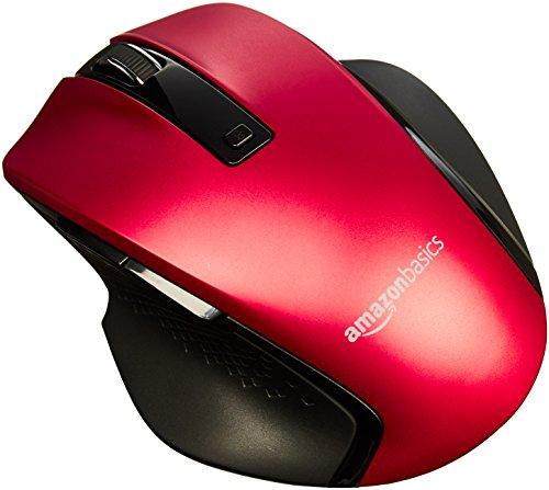 Amazon Basics - Ergonomische kabellose Maus mit Schnell-Scrolling, kompakte Größe - Rot