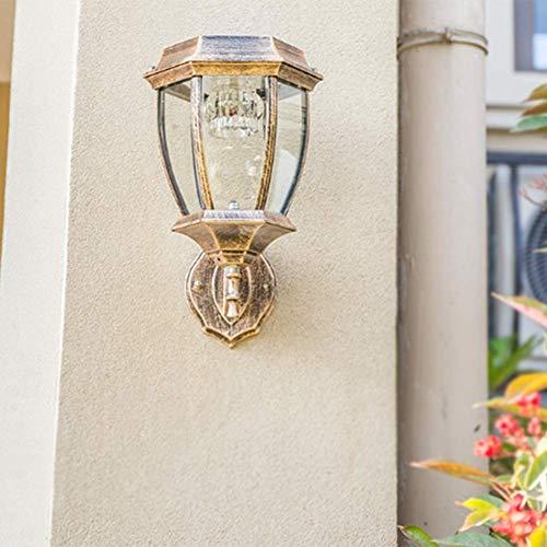 Wandlamp op zonne-energie voor buiten, Europese retro buitenverlichtingswandlamp, gegoten aluminium hofbalkon geleide wandlamp