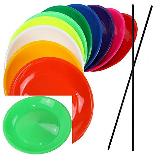 SchwabMarken 2 Jonglierteller NEON-GRÜN mit Kunststoffstab - Jonglierteller mit Holz- oder Kunststoffstab in vielen verschiedenen Mengen und Farben