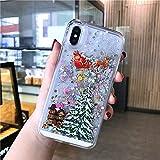 LUOKAOO Funda de teléfono Liquid Quicksand Christmas para iPhone XR X XS MAX 6 6S 7 7Plus 8 8Plus Bling Transparent Hard PC Back Cover, T5, para iPhone 11 Pro