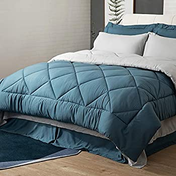 Bedsure Blue Queen Bed in A Bag - 8 Pieces Reversible Bedding Sets Bed Sets Queen with Comforter and Sheets Bedding Comforter Sets