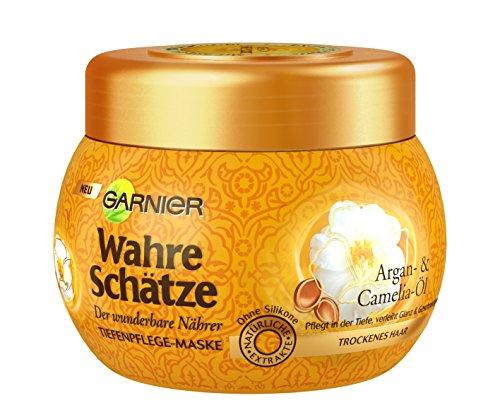 Garnier Wahre Schätze Argan- & Camelia Öl Tiefenpflege-Maske, Haarkur mit Arganöl, Haarpflege für trockenes Haar, 300ml