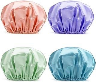 ELF Shower Cap, 4-Pack EVA Shower Caps, Double Layer Waterproof Shower Cap for Women, Double Reusable Waterproof Layers Ba...