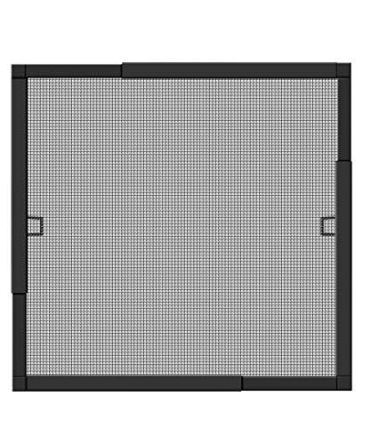 Schellenberg 70081 Insektenschutz-Fenster TELESCOPE Fiberglas-Fliegengitter mit Rahmen aus Aluminium, teleskopierbar – max. 140 x 150 cm in Anthrazit