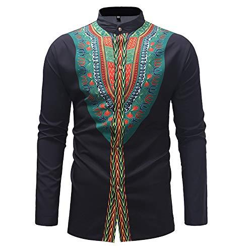 Baoffs Camisas Casuales de los Hombres clásicos Camisa de Manga Larga Estampada Estilo étnico Camisas con Botones Casual y Funky (Color : Negro, tamaño : L)