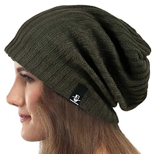 Mujeres Slouchy Gorro Tejer Boina Ribbed Holgado Casquete Invierno Verano Sombrero (Sólido Verde)