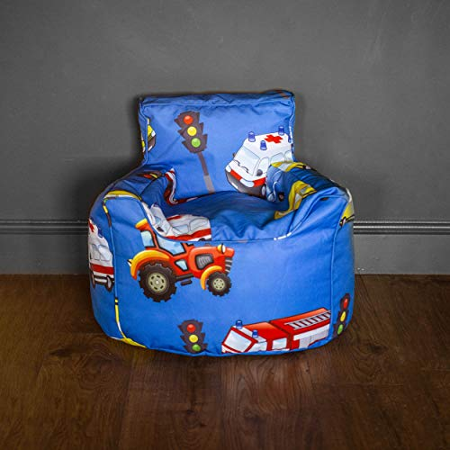 HomeZone Blue Kids Bean Bag Chairs   Blue with Cars and Traffic Theme   Playroom Soft Sitting Cushion (BEANS INCLUDED)