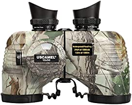 USCAMEL 10x50 Marine Binoculars for Adults,Waterproof Binoculars with Rangefinder Compass?BAK4 Prism FMC Lens Binoculars with Tripod Adapter for Navigation Bird Watching Hunting