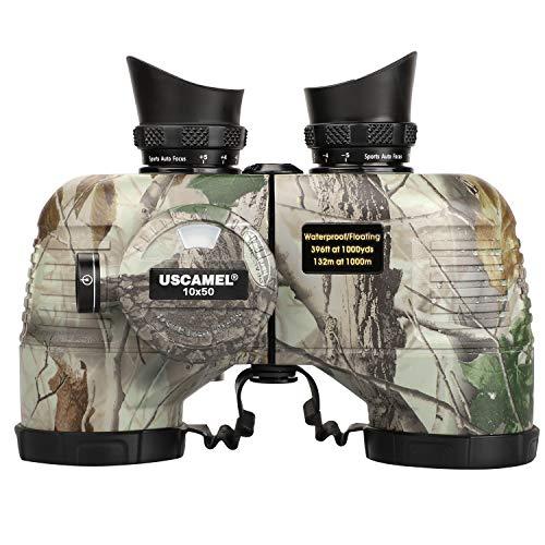 USCAMEL 10x50 Marine Binoculars for Adults,Waterproof Binoculars with Rangefinder Compass,BAK4 Prism FMC Lens Binoculars with Tripod Adapter for Navigation Bird Watching Hunting