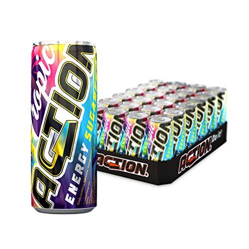 ACTION Energy Tropic SUGARFREE, EINWEG, 24 x 250 ml, inkl. Pfand, Tropischer Energy Drink ZUCKERFREI, 32 mg Koffein / 100 ml, erhöhter Koffeingehalt, 24 Dosen
