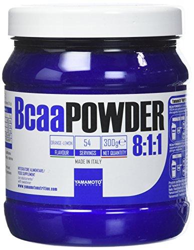Yamamoto Nutrition Bcaa POWDER 8:1:1 integratore di aminoacidi ramificati in rapporto 8:1:1 300 g (Arancia Limone, 300 grammi)