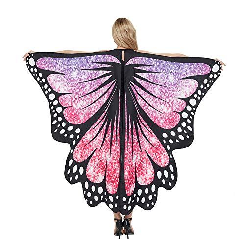 SUSSURRO - Capa en forma de alas de mariposa para adulto, disfraz para Halloween, Navidad, carnaval, cosplay, fiesta, 170 x 140 cm (violeta)