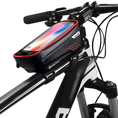 Dewanxin Bolsa Bicicleta Manillar para Ciclista Ciclismo,Bolso de Bici Impermeables con Pantalla Táctil Sensible,Soporte Móvil Teléfono para Teléfonos Móviles Inferior de 6.5 Inches