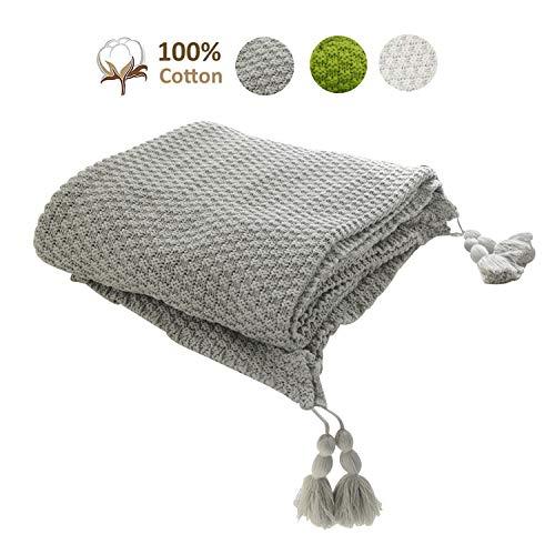 MYLUNE HOME 100% Algodón Tejer Elegante Manta de Punto Cobertura para Ver la televisión en la silleta, sofá y Cama, Las Dos Caras Cubiertas 130 * 160cm (Gray)