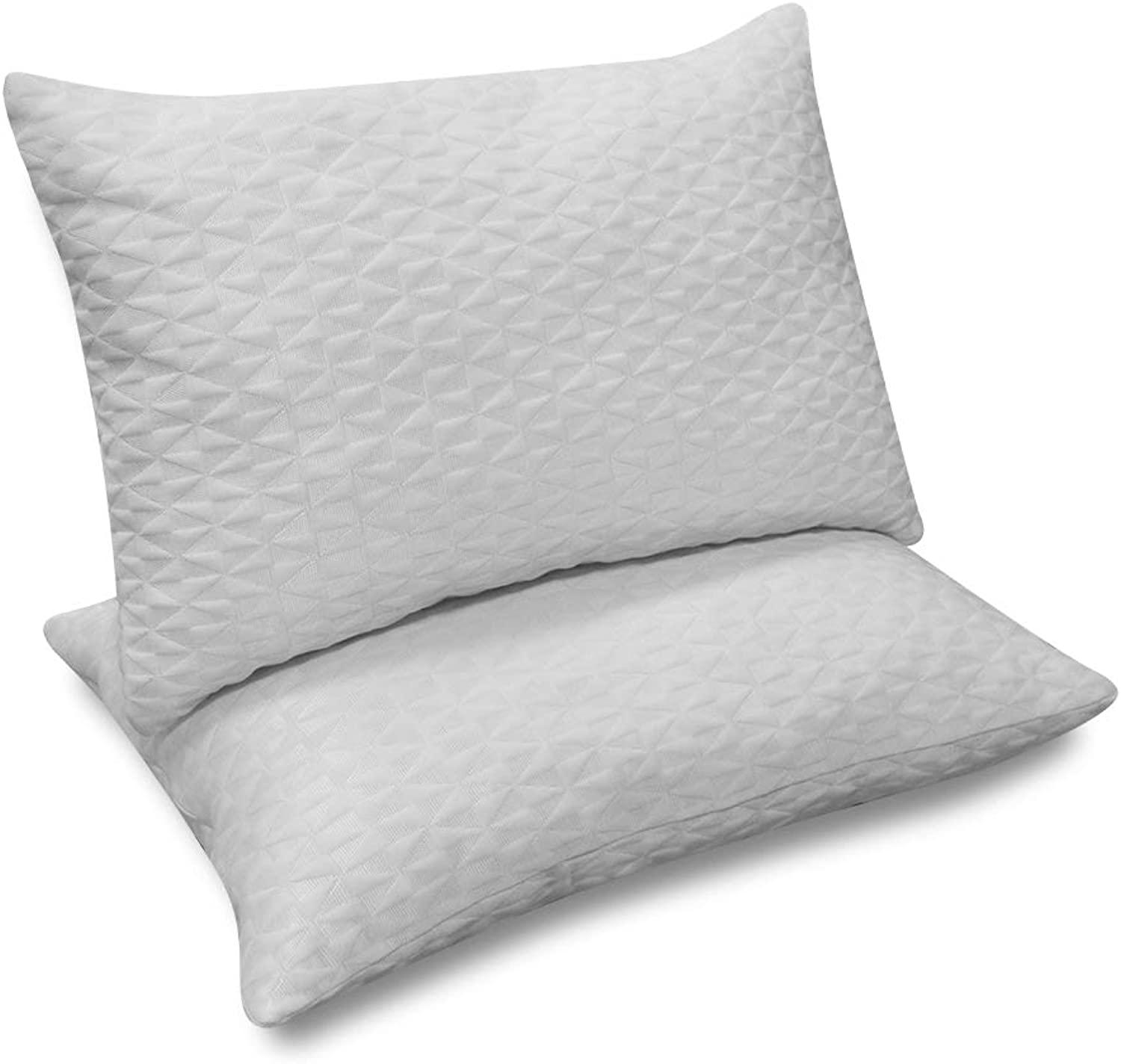 Arachnes Needle Memory Foam Pillow, Adjustable Soft Shredded Hypoallergenic Bamboo Pillow 2 Pieces with Washable Removable Cover-Queen