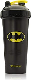 Performa Justice League & DC Comic - Leak Free Protein Shaker Bottle with Actionrod Mixing Technology for All Your Protein Needs! Shatter Resistant & Dishwasher Safe (28oz)