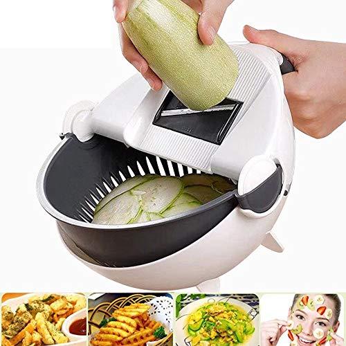 Vegetable Slicer Cutter - 9 in 1 Multi Blade Adjustable Mandoline Slicer Cheese Vegetables Julienne Slicer with Drain Basket - Best Veggie Cheese Shredder Grater Set with Fruit Peeler