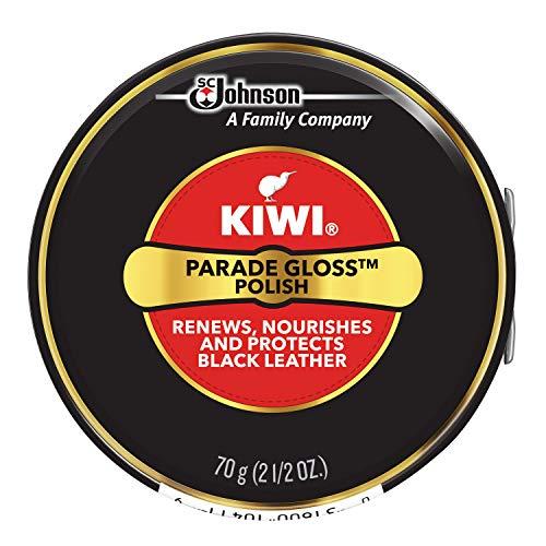 KIWI Black Parade Gloss Shoe Polish and Shine | Leather Shoe Care for Dress Shoes and Boots | Carnuba Wax | 2.5 Oz