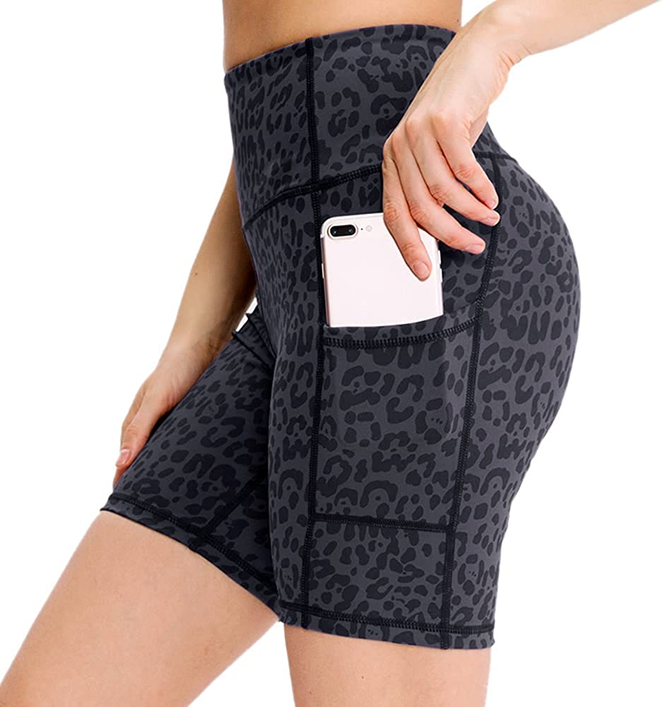 Gzlmao High Cash special price Waist Biker Yoga Pants Shorts Max 74% OFF for with Women Pocke 2