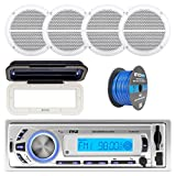 Pyle PLMR21BT Marine Boat USB/SD/MP3 Bluetooth Stereo Receiver With Waterproof Cover Bundle Combo With 4x Enrock 6.5' Inch Dual-Cone White Upgarde Audio Coaxial Speakers + Enrock 50Ft 16g Speaker Wire
