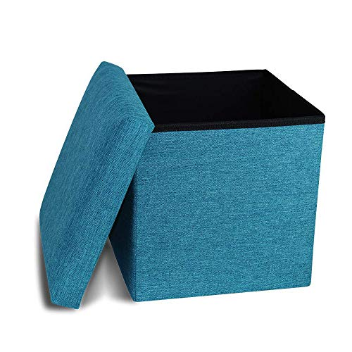 Storage Ottoman Cube Folding Ottomans with Storage Foot Rest Stool Seat Foldable Storage Ottoman Square Toy Chest Padded with Memory Foam Lid Sofa Bed for Space Saving 13x13x13 inch, Teal