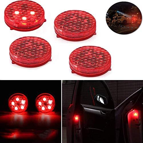 STARPIA 4 Satz Autotür-Warnlicht mit dem Röhrenblitz-blinkenden, Geführten Offenen Sicherheit Licht Anti-Kollision Lampen, Magnetisches Wasserdichtes Lampenselbstwarnlampe (Rot)
