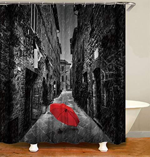 ZZZdz – paraplu rood – waterafstotend – gemakkelijk te reinigen – 12 haken – 3D-druk – niet Sbiadire – douchegordijn 180 x 180 cm